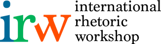 Logo for the International Rhetoric Workshop, which consists of the lowercase letters 'i' in blue, 'r' in green, and 'w' in orange, next to the all-lowercase, one word per line listing of the full name of organization in serif black font on the right.