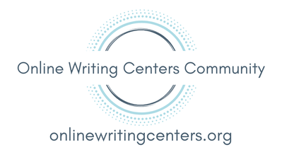 Logo for the Online Writing Centers Community, which depicts the organizational name in black over a group of concentric circles, including from the most central, a solid dark gray circle, a solid blue circle, a blue circle made of dots, another blue circle with lighter tone and more dispersed dots, and two more with lighter blue and even more dispersed dots.