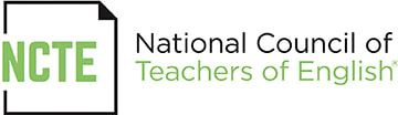 Logo for the National Council for Teachers of English, which depicts the letters 'NCTE' in green on top of an image of a white piece of paper with a folder upper-right corner, all next to the fuller stated name with 'Teachers of English' in green.