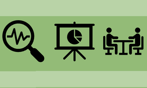 Three black research-related icons on a greenfield:A magnifying glass; a presentation screen; a mentorship meeting (two people sitting at a table).