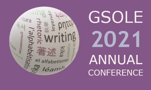"GSOLE 2020 Conference Placard: ""GSOLE 2021 Annual Conference"" on a purple background next to a representation of a globe"