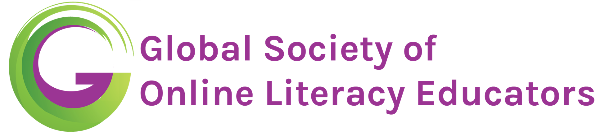 "Stylized green and purple 'G' with ""Global Society of Online Literacy Educators"" in purple."