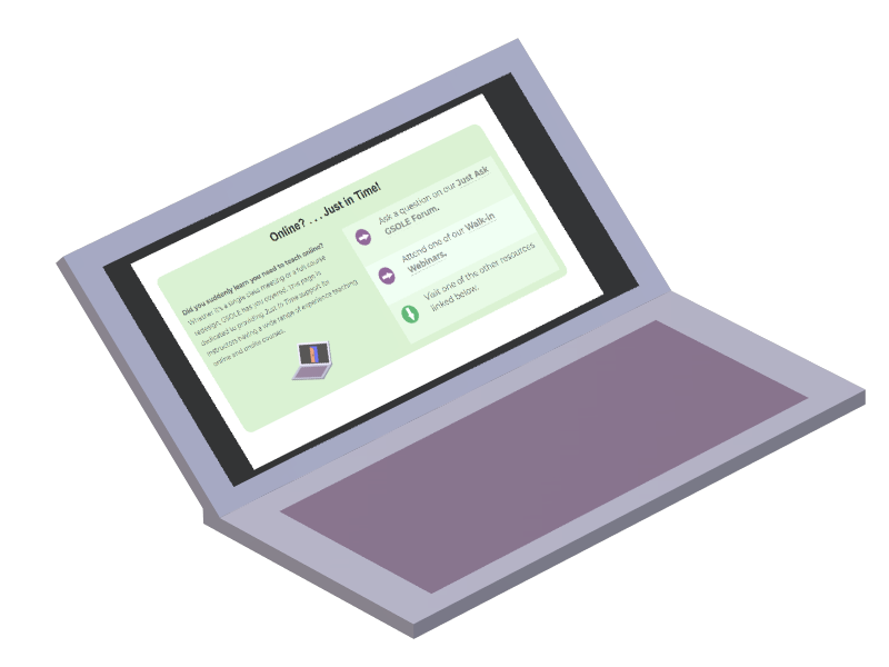 Stylized purple laptop graphic depicted open, facing right at an angle; on the screen is a depiction of the GSOLE Just-in-time Hub splash section.