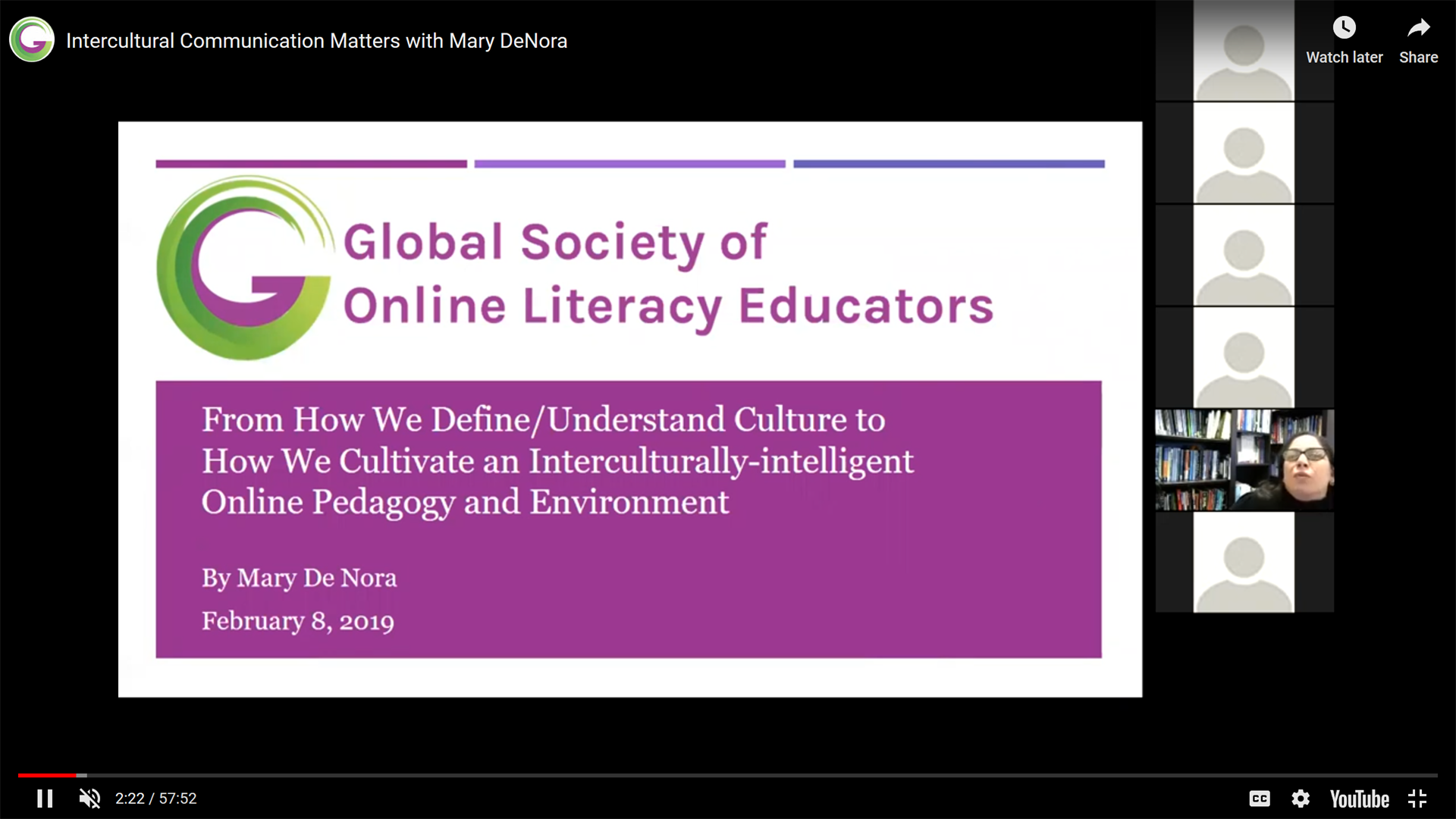 "Webinar Screen Capture: Slide title ""Global Society of Online Literacy Educators. Welcome to the 2019-2019 Webinar Series!"""