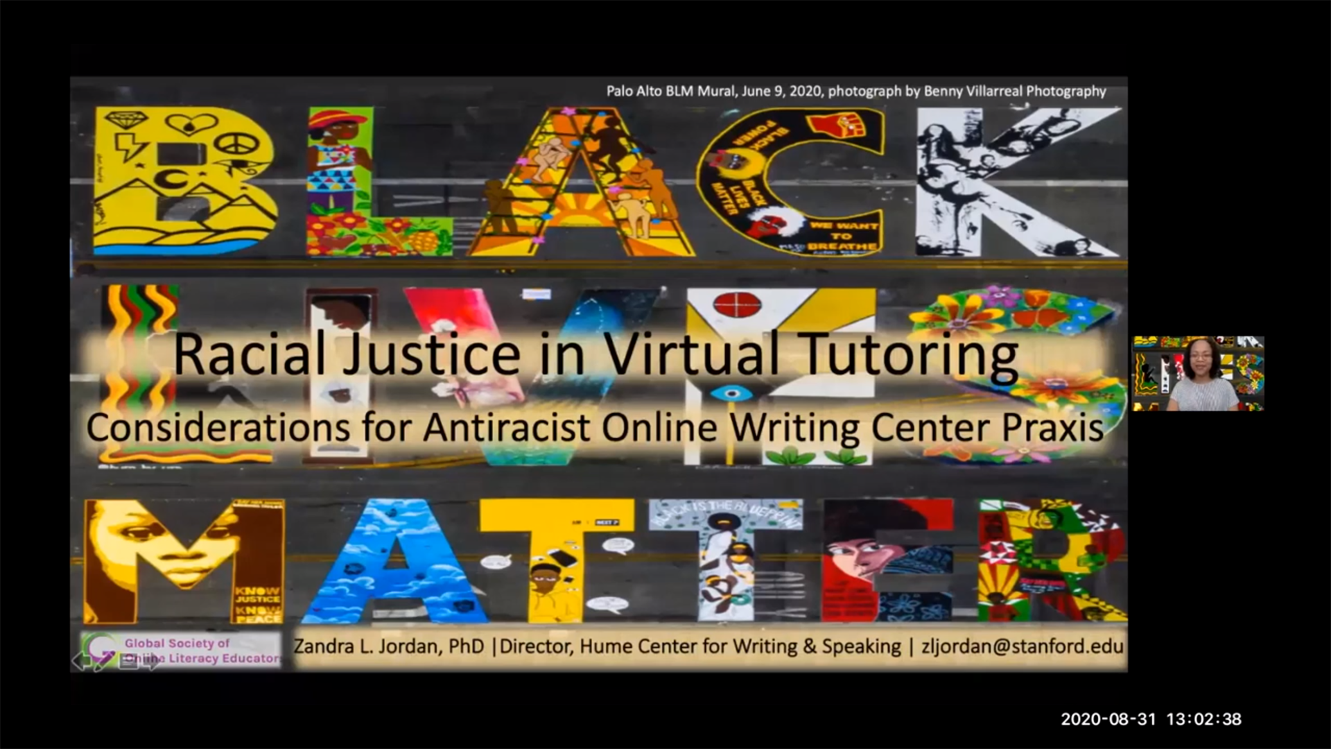 "Webinar Screen Capture: Slide title ""Starting, Evaluating or Revamping Online Tutoring in Your Writing Center""; pictures of participant cam images appear on right."